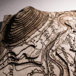 Lasercut Dufour map - Detail of the topographic layers