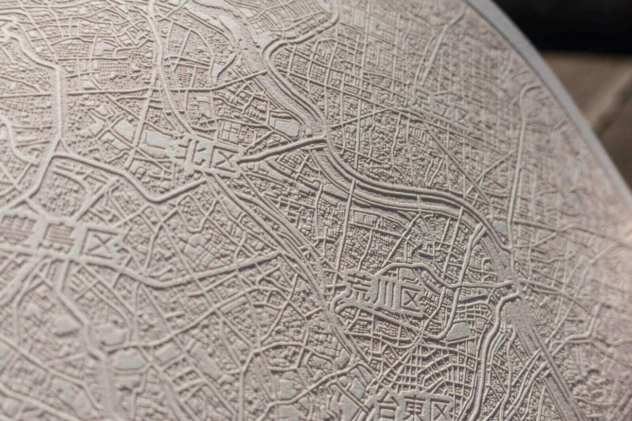 Closeup of the laser engraved paper map of Tokyo, Japan