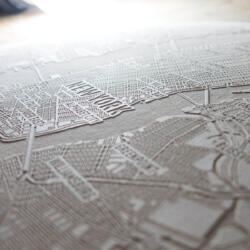Laser engraved paper city map of New York - Engraving Detail 3