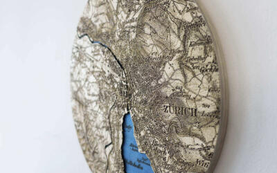 Historical Dufour map of Zurich, Switzerland in 1944 - Laser cut and engraving in wood