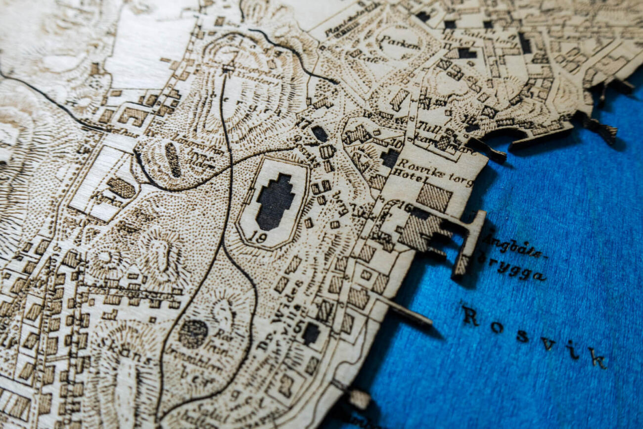 Historical map of Lysekil in Sweden in the year 1898, Detail of the laser engraving