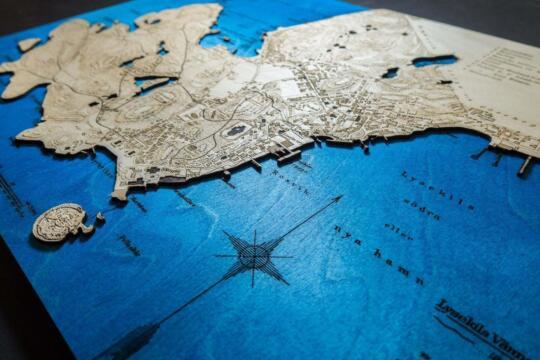 Historische Karte von Lysekil in Sweden im Jahr 1898, Schräge Ansicht Laser Gravur des Wassers