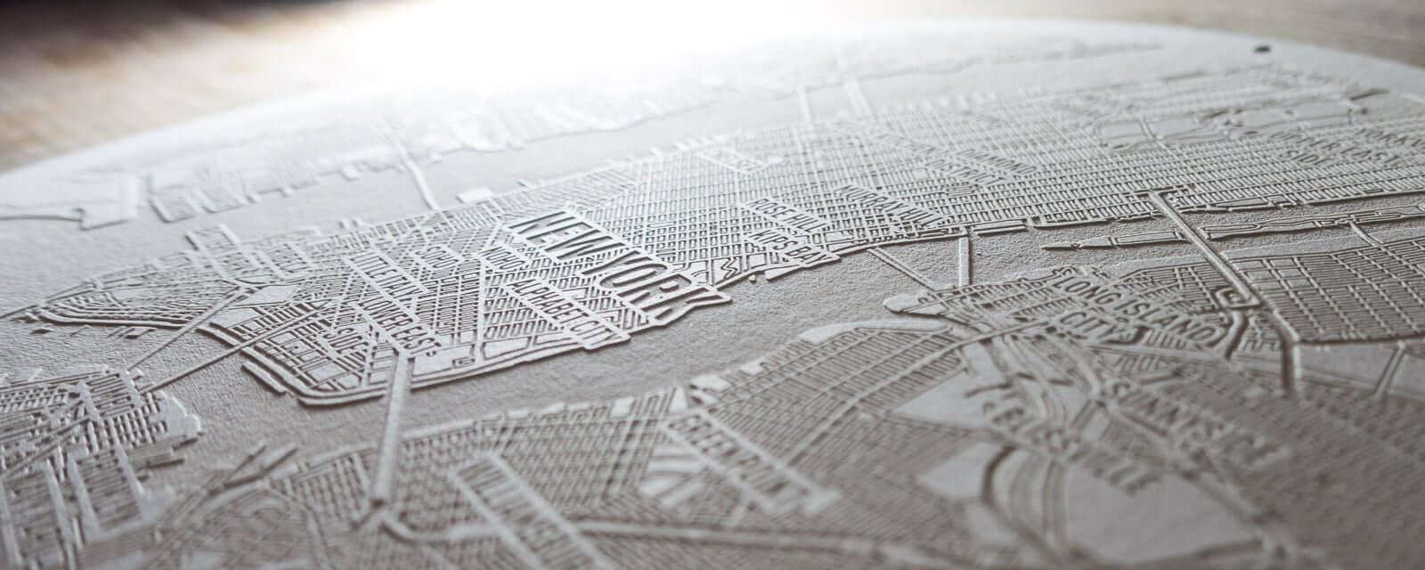 Papier Laser Gravur von Manhatten, New York City.