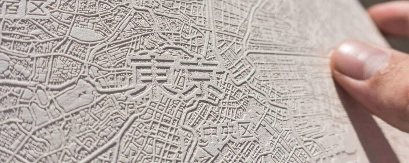 Papier Laser Gravur der Stadtkarte von Tokio, Japan.